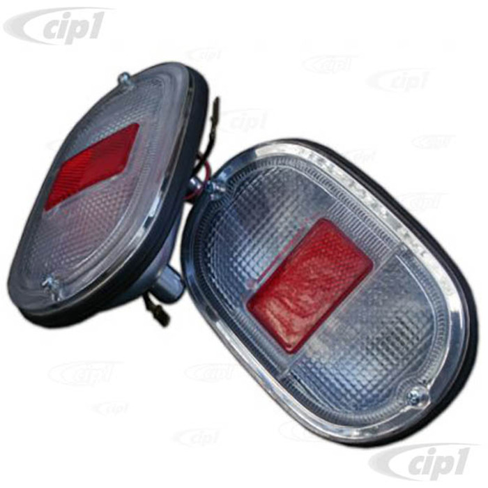 C33-S01770 - (211945241CL - 211-945-241CL) - GERMAN QUALITY FROM C&C U.K. - REAR COMPLETE TAILLIGHT ASSEMBLIES - WITH RED AND CLEAR LENSES - BUS 62-7/71 - SOLD PAIR