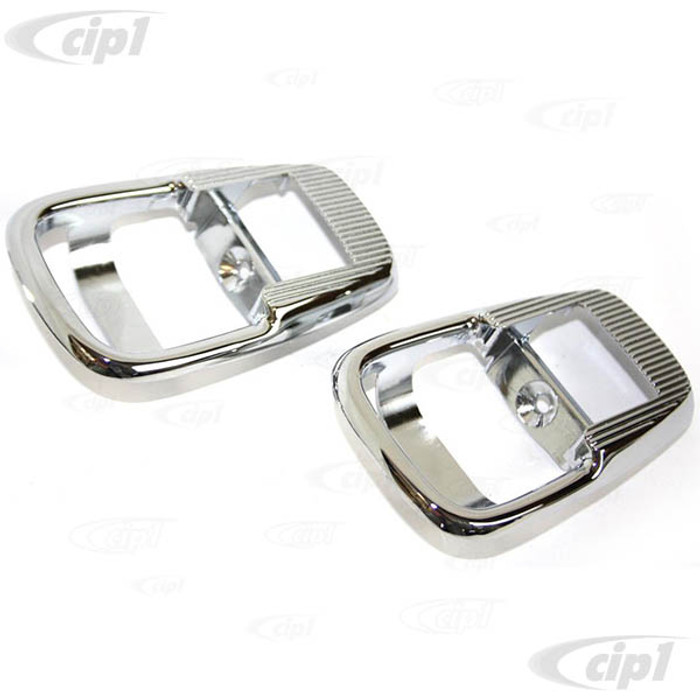 C33-S32599 - (411837097CH - 411-837-097CH) - GERMAN QUALITY FROM C&C U.K. - CHROME INTERNAL DOOR RELEASE SURROUNDS - BUS 68-72 - GHIA 71-74 - BEETLE 72-73 - SOLD PAIR