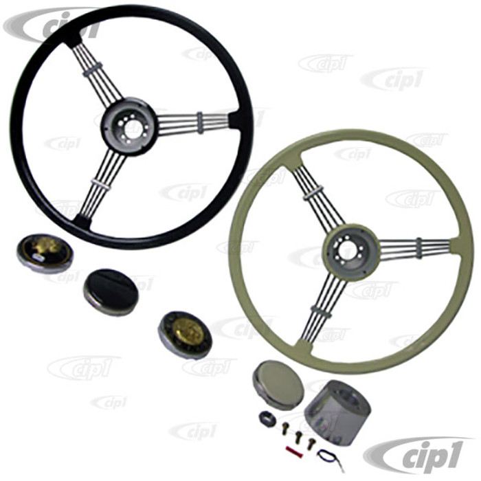C38-I-235-KIT - GENUINE FLAT-4 (FINEST QUALITY) COMPLETE BANJO STEERING WHEEL KIT - 15-3/4 INCH DIAMETER - WITH CHOICE OF HUB ADAPTER & HORN BUTTON - SOLD KIT