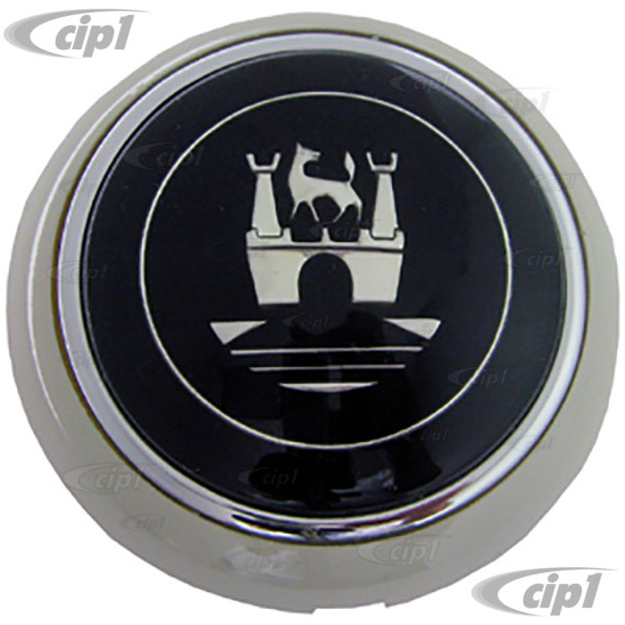 C38-I-249A - (211-415-669 211415669) FLAT 4 - LIGHT GREY (SILVER-BEIGE) DELUXE HORN BUTTON WITH SILVER CASTLE CREST - BUS 55-67 -  BEETLE 56-59 - SOLD EACH