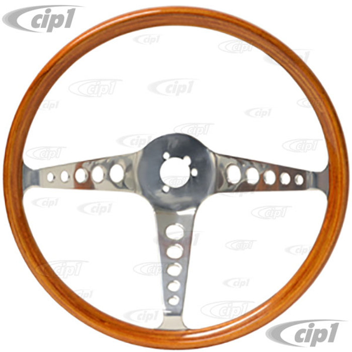 C38-IN-177 - FLAT-4 – REPRODUCTION SPEEDWELL STEERING WHEEL ONLY - GENUINE MAHOGANY WOOD - 374MM 14-3/4 IN. DIA. - HORN BUTTON AND HUB ADAPTER SOLD SEPARATELY -  SOLD EACH
