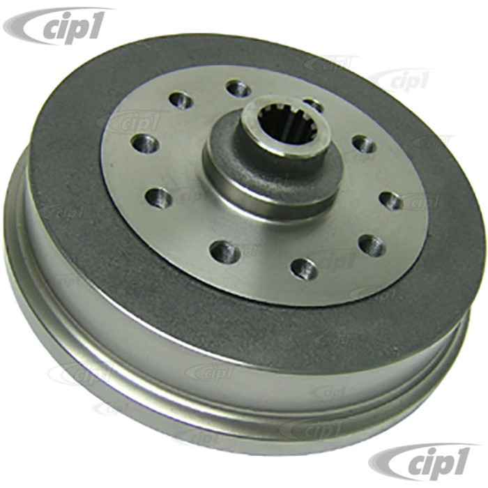 ACC-C10-6750 - REAR BRAKE DRUM - CHEVY 5X4.75 IN. AND PORSCHE 5X130MM COMBO BOLT PATTERNS - 130MM X M14-1.5 OR 4.75 IN. 12M THREAD - BEETLE / GHIA 68-79 - SOLD EACH
