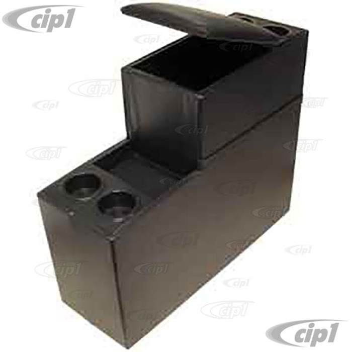 T25-2100 - 68-79 BUS CENTER CONSOLE - BLACK VINYL WITH CUP HOLDERS - (A15)