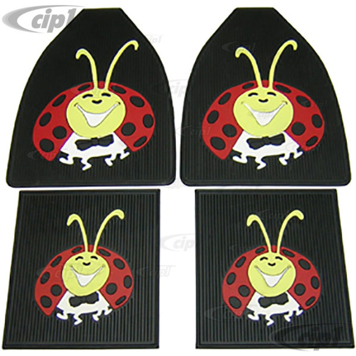 ACC-C10-3748 - EMPI 15-1097 15-1098 - LADYBUG RUBBER FLOOR MATS - 4 PIECE SET - ALL BEETLES - BLACK WITH RED/YELLOW/WHITE BUG - SET OF 4 MATS