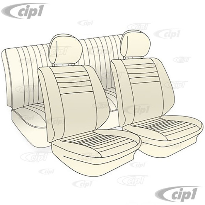 T43-1129-13 - 77-78 BEETLE SEDAN SEAT COVER SET (HEADREST COVERS NOT INCLUDED) - SMOOTH TAN VINYL - FRONT ANE REAR - SOLD SET (WITHOUT HEADREST COVERS)