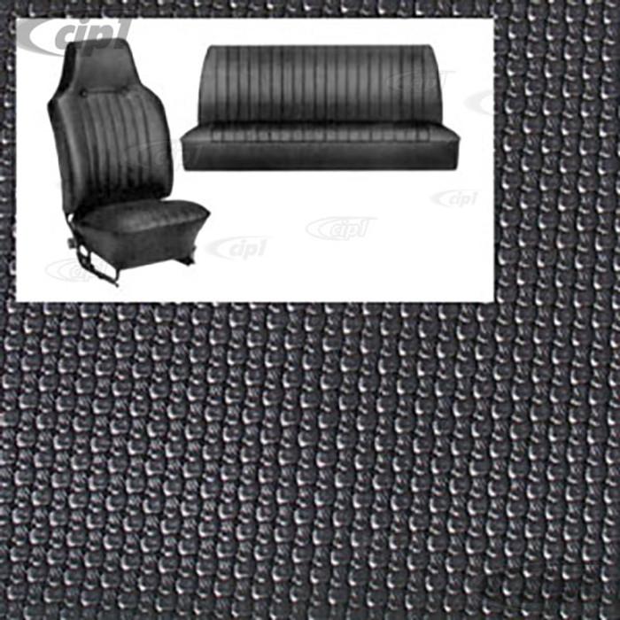 T43-1324-01 - 68-69 BEETLE CONVERTIBLE SEAT COVER SET - BLACK BASKET WEAVE - SOLD SET