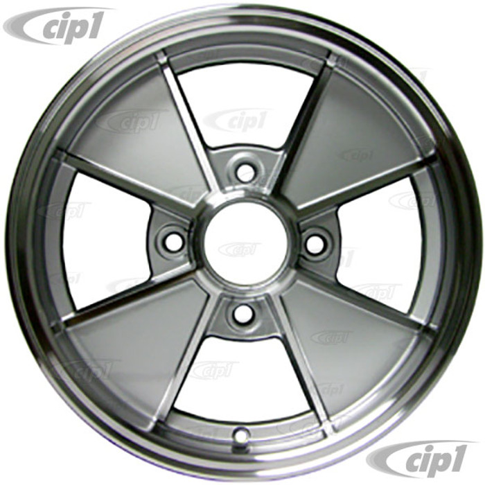 ACC-C10-6663 - BRM REPLICA SILVER 4 SPOKE WHEEL - 15 IN. x 5 IN. WIDE (4x130MM BOLT PATTERN) CENTER CAP AND MOUNTING HARDWARE IS SOLD SEPARATELY - (A20)