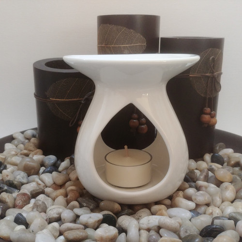 Tear Drop Ceramic Oil Burner - Gloss White