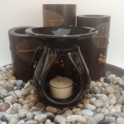Tear Drop Ceramic Oil Burner - Gloss Black