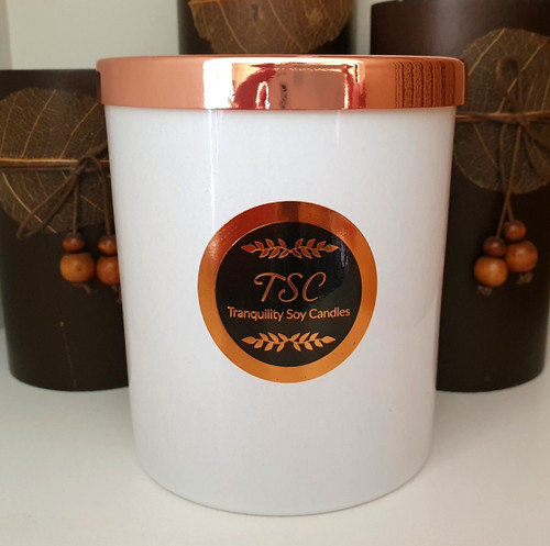 Oxford Large White Tumbler Rose Gold Lid Scented