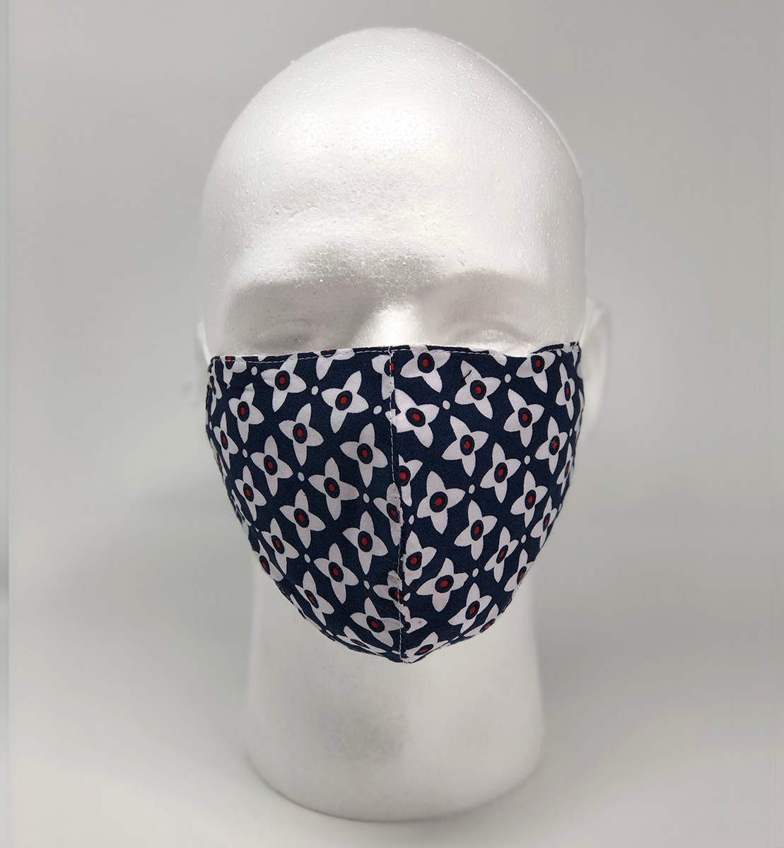 Graphic Fashion Mask - Navy Red White Floral