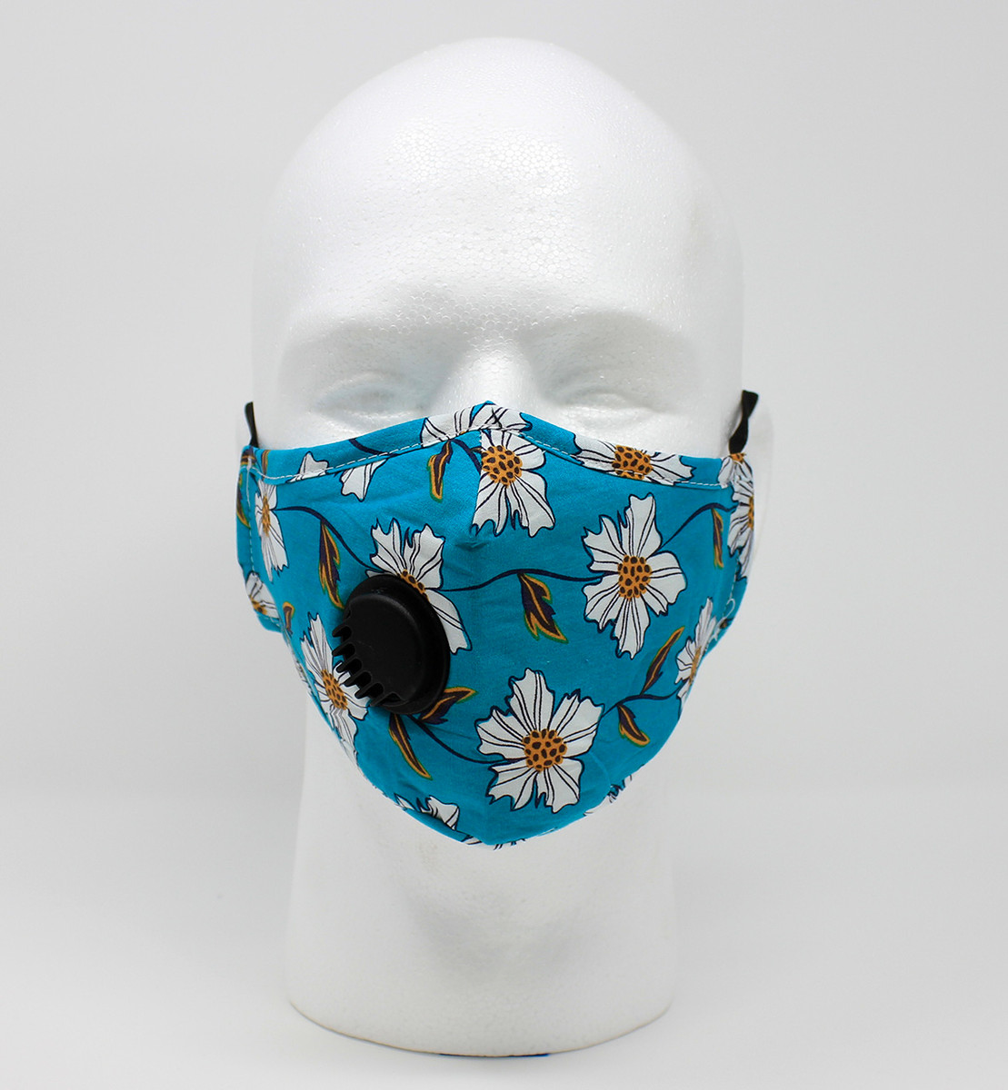 Vented Graphic Fashion Mask - Turquoise/Gold Floral