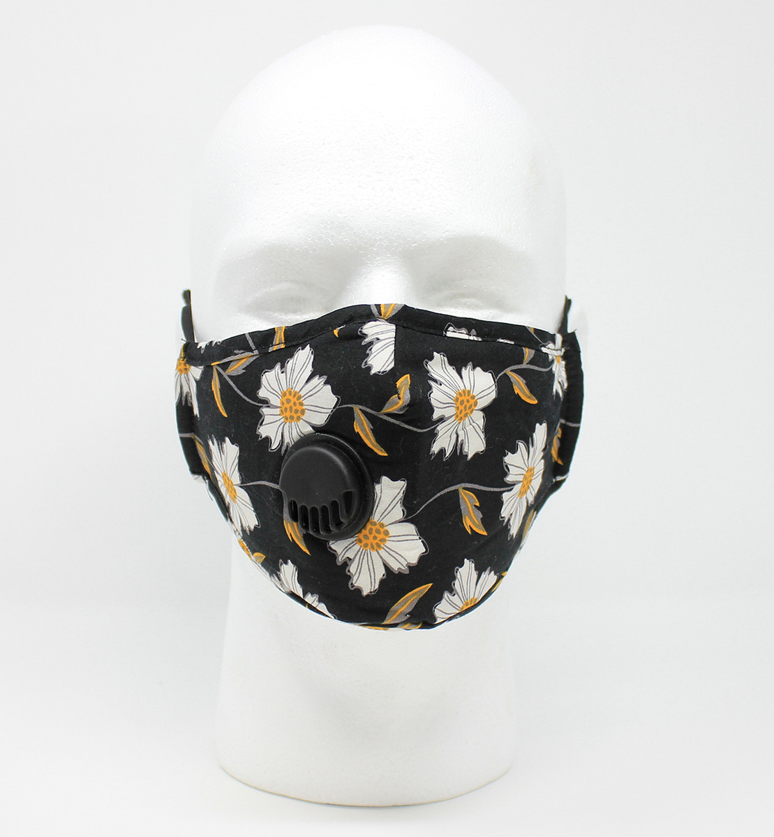 Vented Graphic Fashion Masks - Black/Gold Floral
