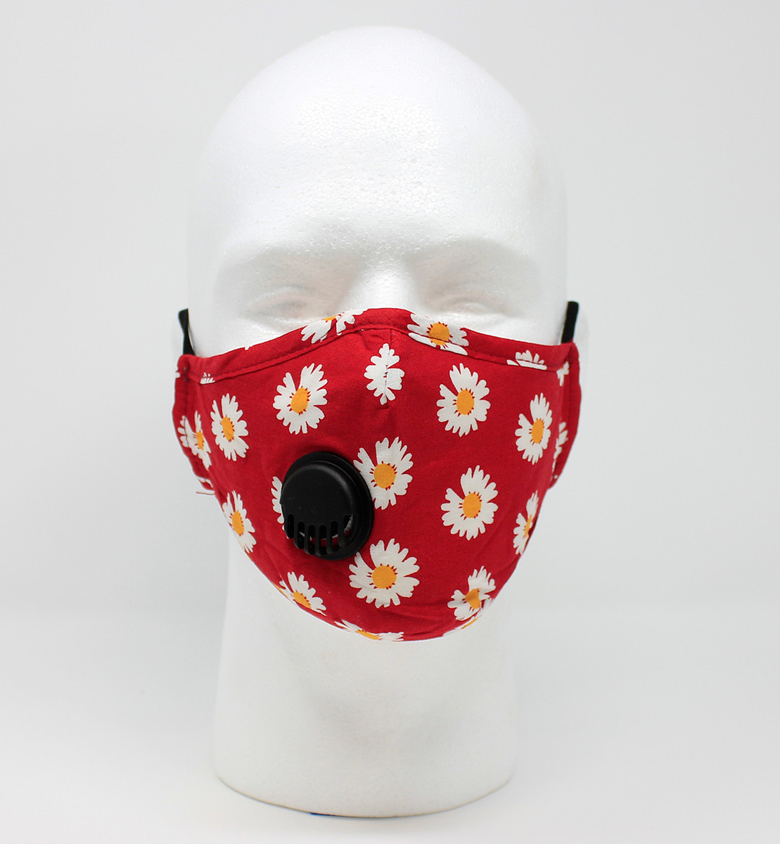 Vented Graphic Fashion Masks - Red/Gold Daisy