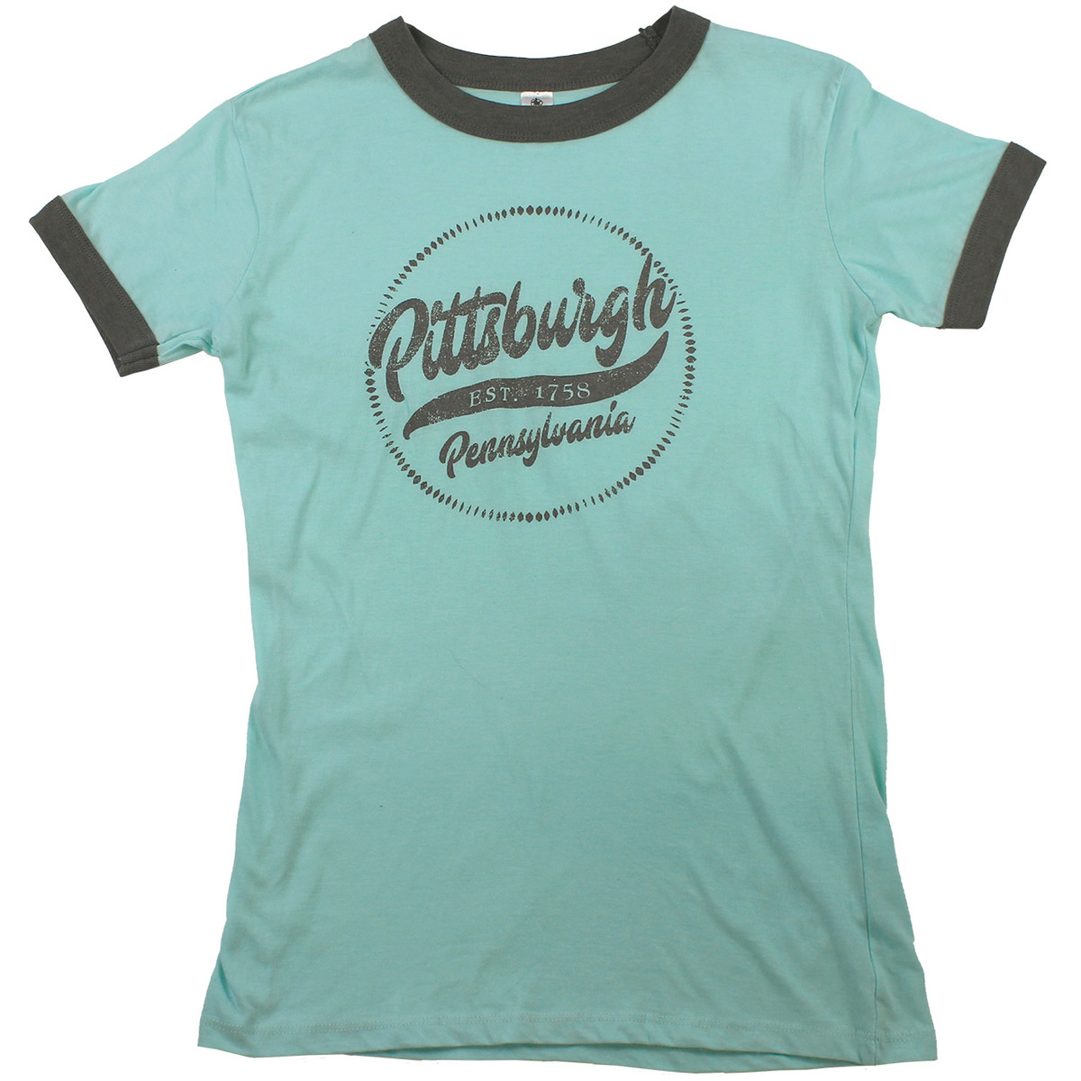 Pittsburgh Women's Ringer Tee Teal/Gray