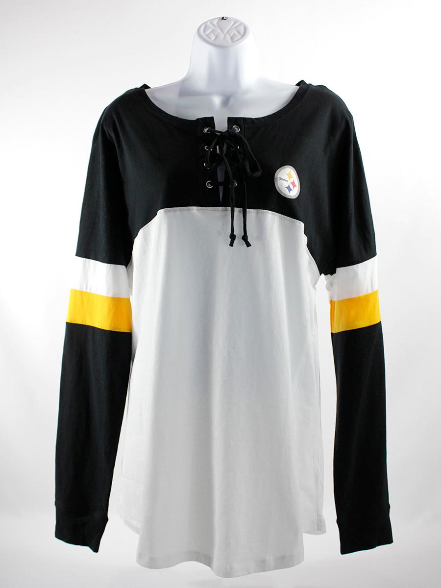 Pittsburgh Steelers New Era Women's Athletic Varsity Lace-Up Long Sleeve T-Shirt - Black/White