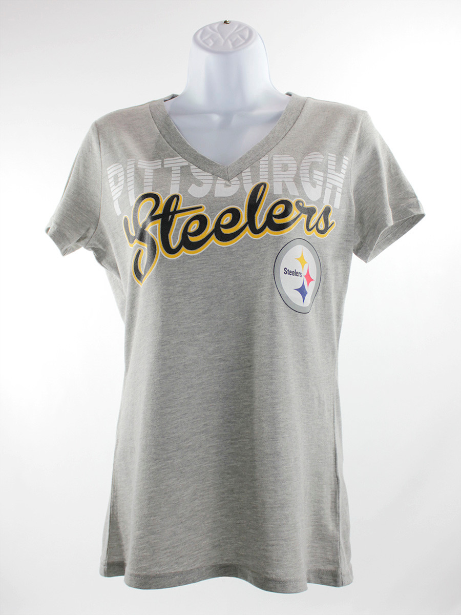 G-III NFL Women's Pittsburgh Steelers Grey V-Neck T-Shirt
