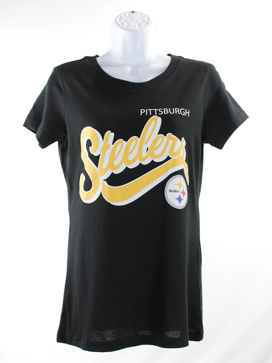 Women's Pittsburgh Steelers G-III Script Crew Neck Black T-Shirt