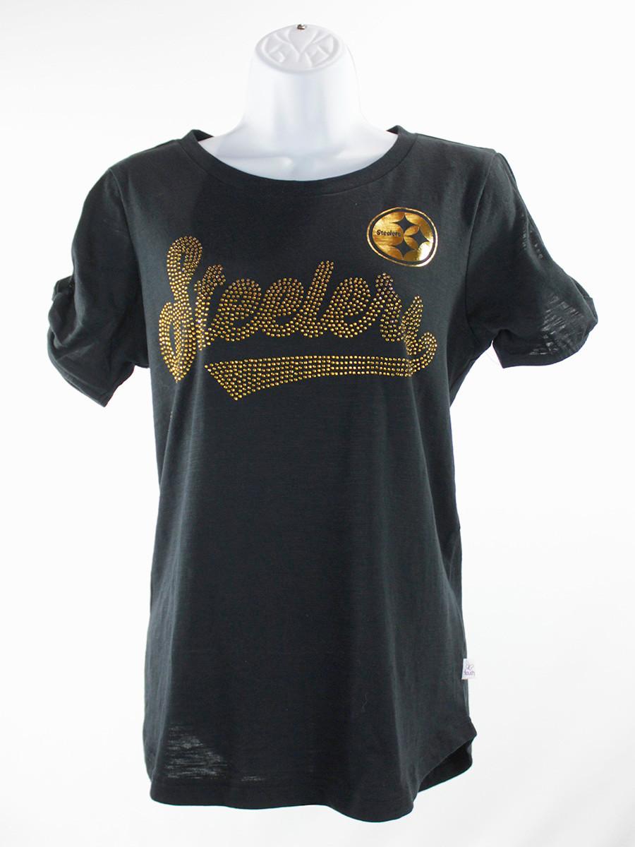 Women's Pittsburgh Steelers Open Shoulder Script T-Shirt