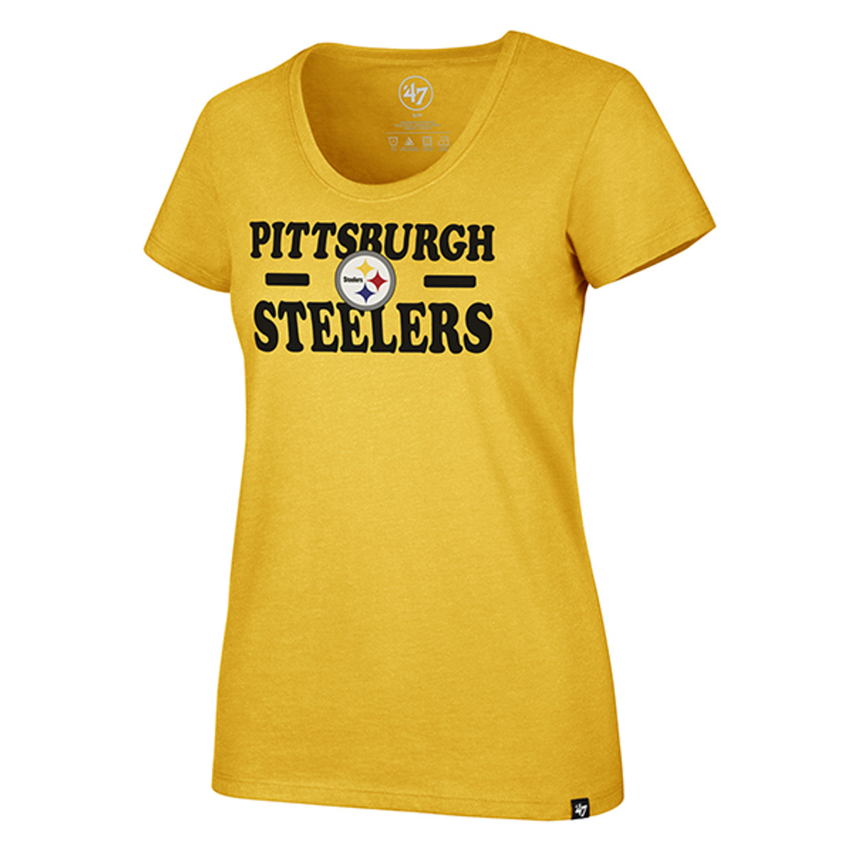 PITTSBURGH STEELERS GALLEY GOLD GLITZ CLUB SCOOP NECK TEE