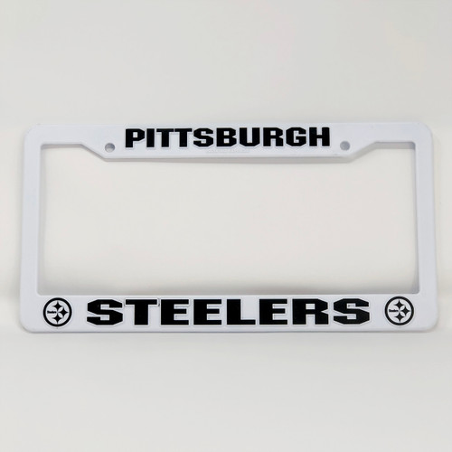 Plastic Steelers License Plate Frame - White