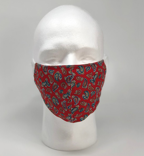 Graphic Fashion Mask - Red Paisley
