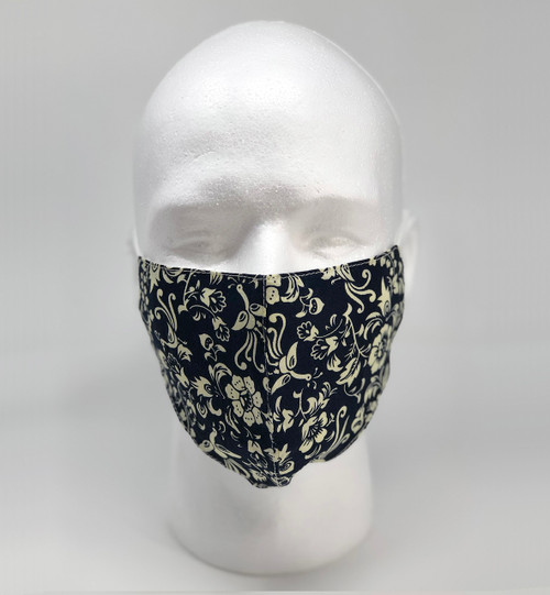 Graphic Fashion Mask - Navy Cream Floral