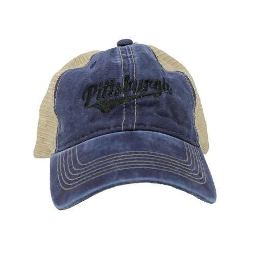 Retro Pittsburgh Mesh Cap - Blue