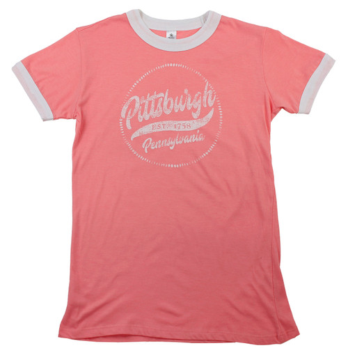 Pittsburgh Women's Ringer Tee Coral/White