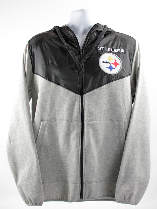 GIII Men's Pittsburgh Steelers NFL Full Zip Hoodie Grey/Black