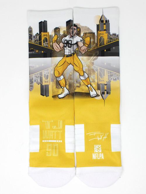 TJ Watt Super Hero Gold Action Sock