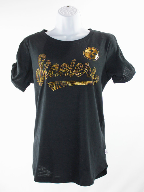 Women's Pittsburgh Steelers Open Shoulder Script T-Shirt