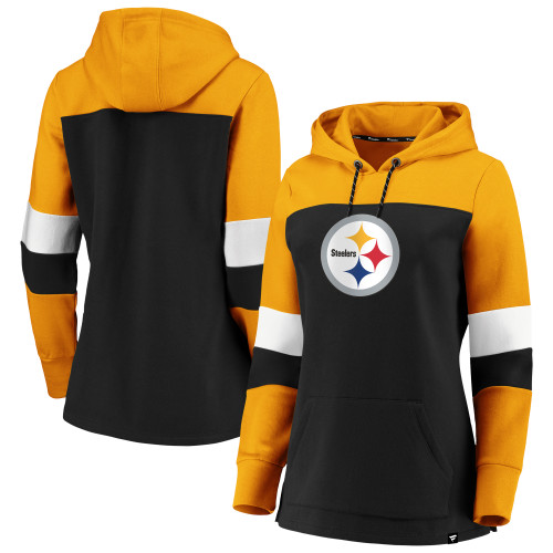 Pittsburgh Steelers Fanatics Women's Iconic Fleece Colorblock Pullover Hoodie - Black/Gold