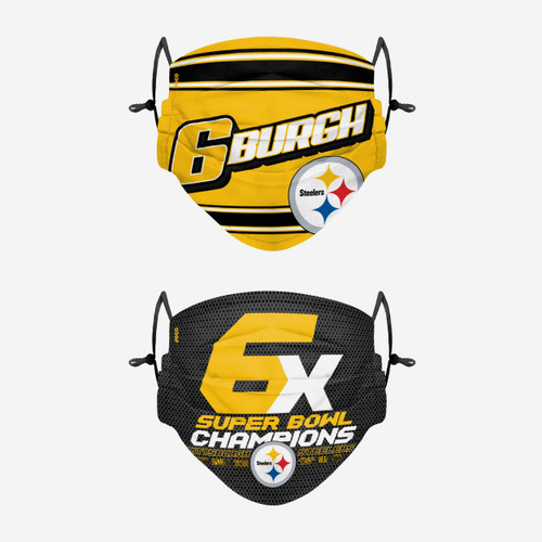Pittsburgh Steelers Thematic Champions Adjustable 2 Pack Face Cover