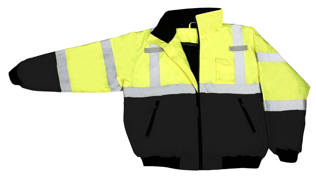 Class 3 Two-in-One High Visibility Bomber Safety Jacket - Hi-Viz Green