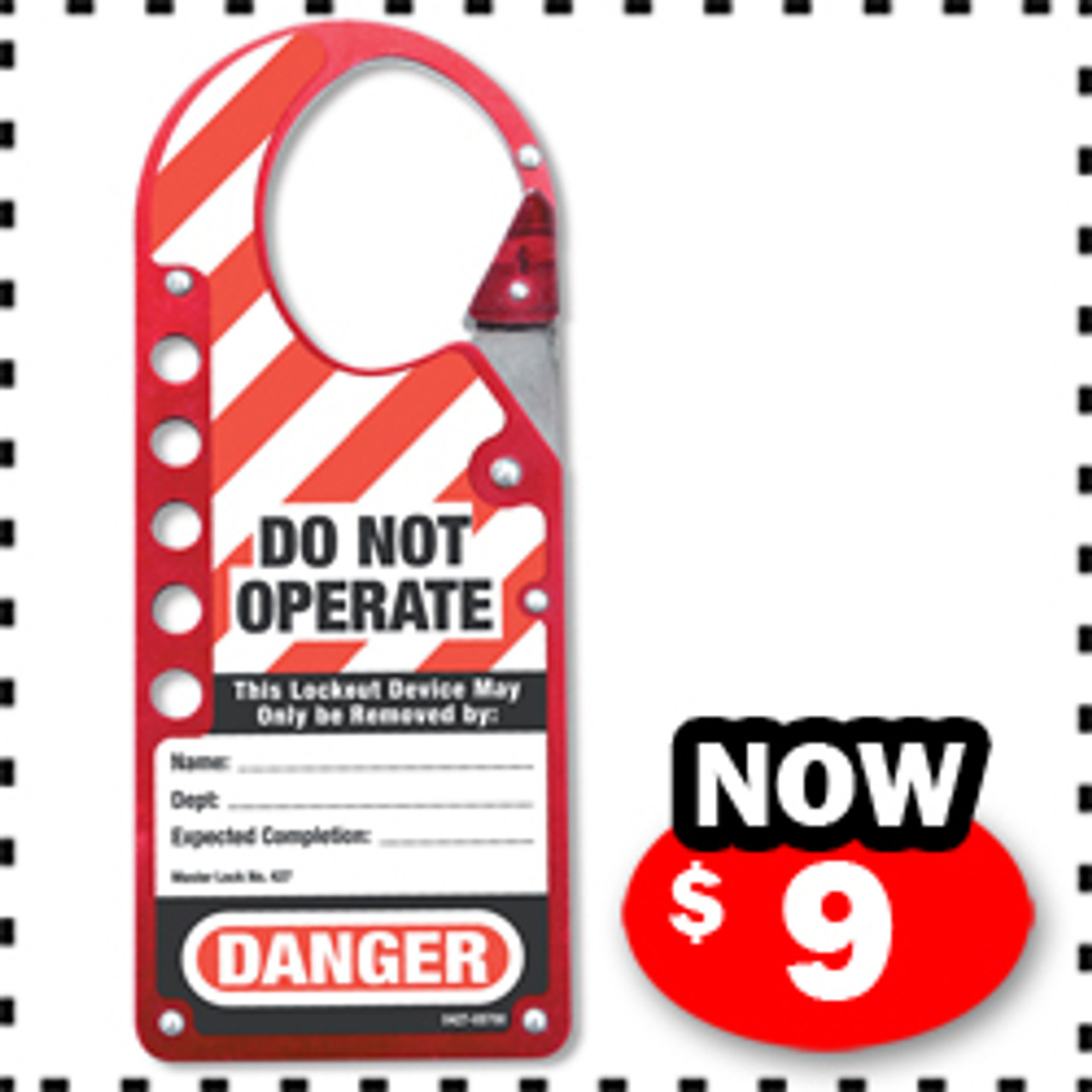Labeled Snap-on Lockout Hasp, Red, 1-3/4in x 2-1/8in (44.5mm x 54mm) Jaw Clearance