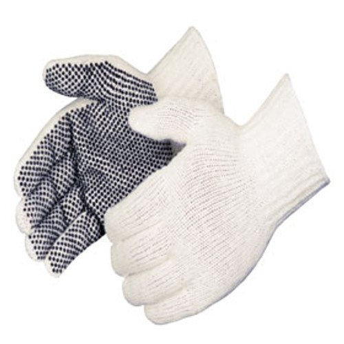 Cotton/Poly Plain Seamless Knit Gloves/One-Sided Black PVC Dot