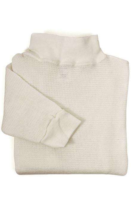 White Nomex Waffle Long Underwear - Mock Turtleneck Top