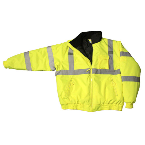 Class 3 Hi-Viz Weather Proof Bomber Jacket w/ Quilted Built-in Liner - Hi Viz Green