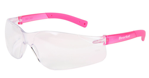BearKat Small - Clear Lens, Pink Temples, Pink Non-Slip Temple Sleeve