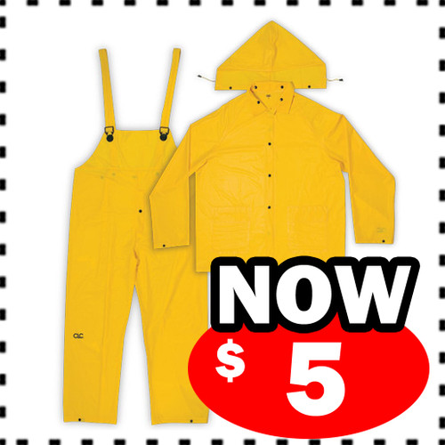 3 PIECE MEDIUM-WEIGHT PVC RAIN SUIT