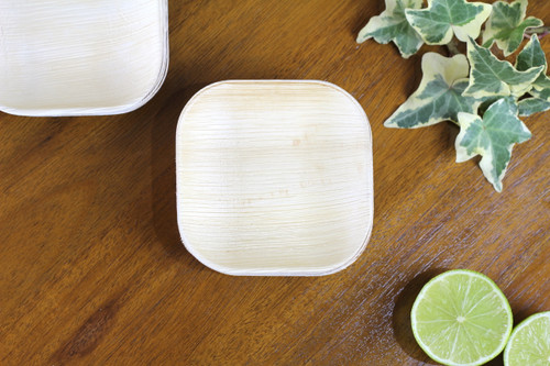 Foogo Green small square dessert bowl 4 inch 10cm Areca palm leaf disposable eco friendly biodegradable compostable wedding party function premium quality sturdy use and throw woody bamboo bio