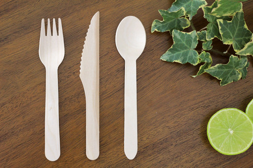 FOOGO Green wooden cutlery set, disposable, 50x forks, 50x spoons, 50x knives, large, 16cm long, eco-friendly, 100% Natural, birchwood, bamboo like, wood, wedding, party, rustic, luxury, environmentally friendly