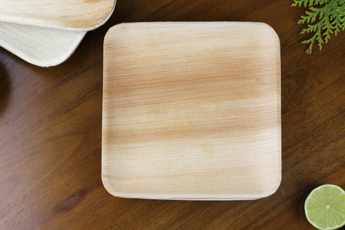 Foogo Green 8 inch 20 cm Square Areca palm leaf plate premium high quality disposable bio 100% natural eco-friendly biodegradable compostable pack of 25 party ware dinnerware tableware wedding plates premium quality sturdy use and throw bamboo