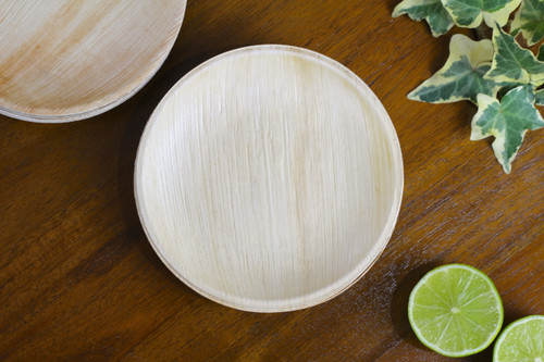 Small 6 inch 15cm round palm leaf plate disposable eco friendly biodegradable compostable wedding party function plate premium quality sturdy use and throw woody bamboo starter bio