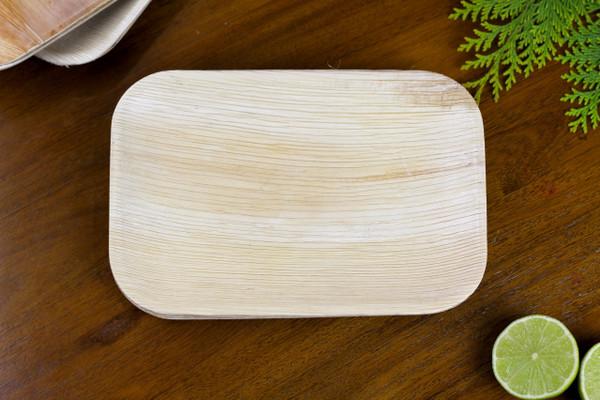 Foogo Green 9 by 6 inch Rectangle Areca palm leaf tray premium high quality disposable bio 100% natural eco friendly biodegradable compostable pack of 25 party ware dinnerware tableware wedding plates bamboo
