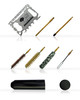 This KIT includes a swivel handle, 2pcs rod, brass brush, nylon brush, and a patch holder to wipe your barrel clean with patches or just plain old paper towels.