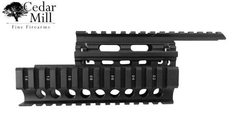 AK-47 Saiga VEPR 2-Piece Quad Rail Mount for 7.62 x 39 rifles 7.62x39 Satin black powder coated finish with position indicators