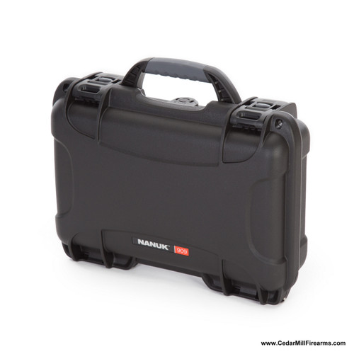 Nanuk 909 Waterproof TSA Safe case for Glock, 1911, SIG, Ruger, and MORE front with impact resistant NK-7 resin hard case