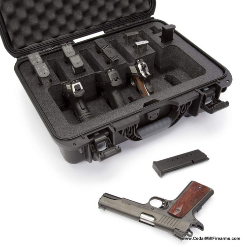 Nanuk 925 Waterproof TSA Safe case QUAD Glock, 1911, SIG, Ruger, 4-UP customized to fit 4 pistols and 10 magazines